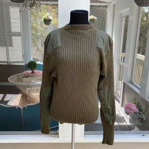 Vintage 80s 90s Patched Ribbed Olive Army Sweater